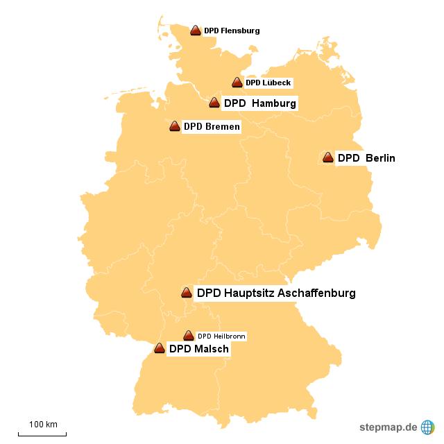 dpd standorte von daniss landkarte f r deutschland. Black Bedroom Furniture Sets. Home Design Ideas