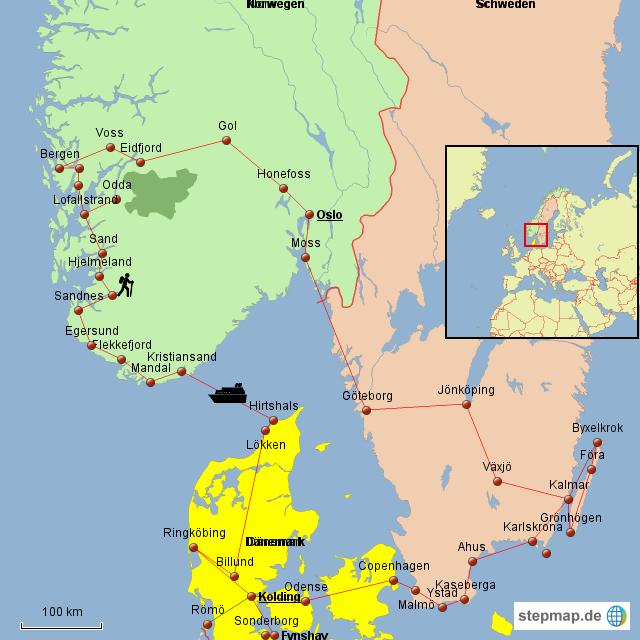 Karte Norwegen Dänemark.Stepmap Dänemark Norwegen Schweden 2016 Landkarte Für Deutschland