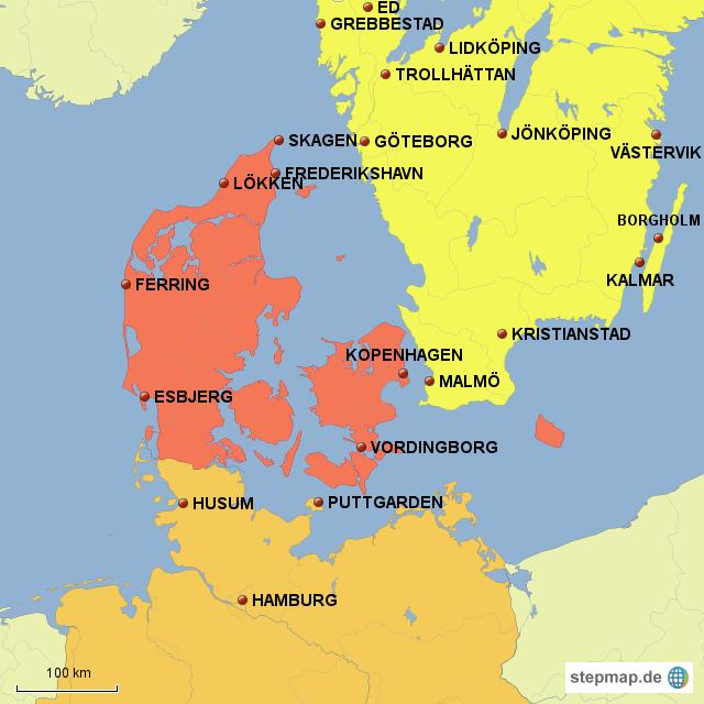 landkarte deutschland dänemark schweden StepMap   Dänemark/ schweden   Landkarte für Europa