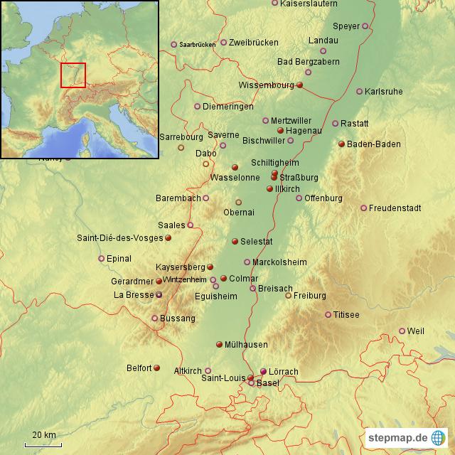 elsass landkarte StepMap   Der Elsass   Landkarte für Frankreich elsass landkarte
