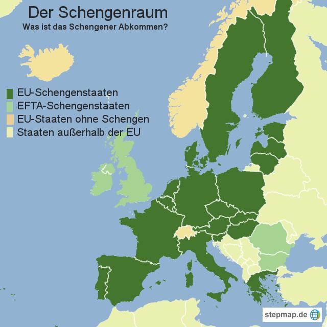schengenraum karte StepMap   Der Schengenraum   Landkarte für Europa schengenraum karte