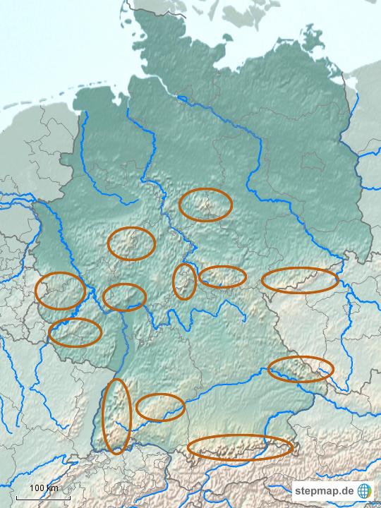 deutsche gebirge karte StepMap   Deutsche Gebirge Lernkarte2   Landkarte für Deutschland