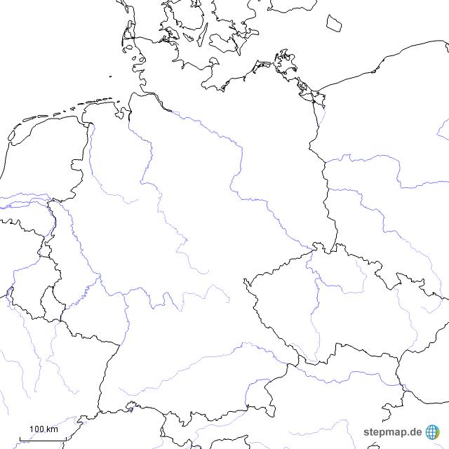 blanko landkarte deutschland StepMap   Deutschland Blanko mit Flüssen und Nachbarstaaten