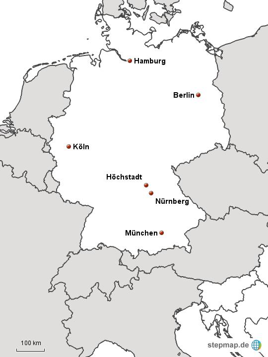 blanko landkarte deutschland StepMap   Deutschland Blanko mit Höchstadt   Landkarte für Deutschland