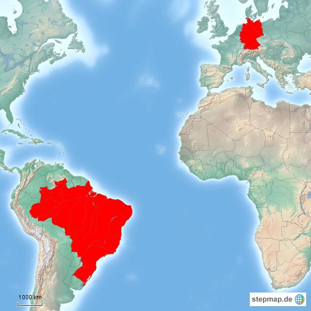 Brasilien Karte Welt.Stepmap Deutschland Brasilien Vergleich Landkarte Für Welt