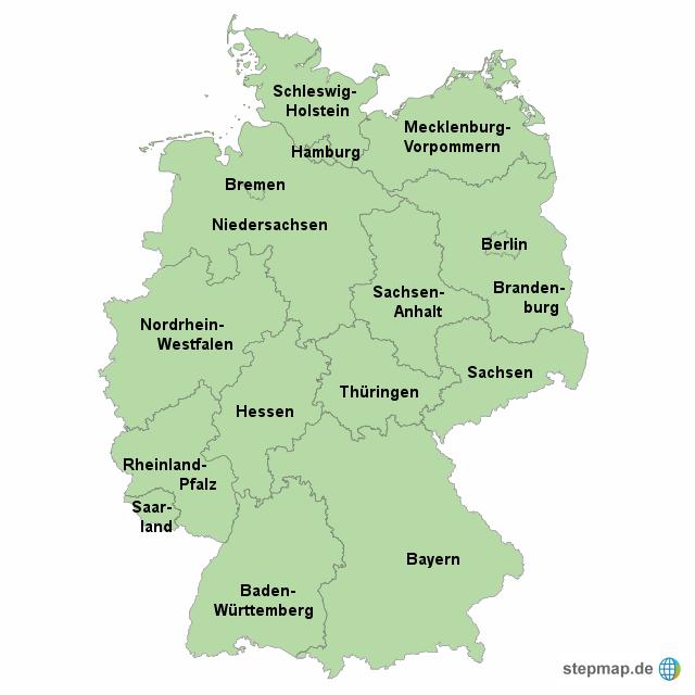 stepmap deutschland bundesl nder landkarte f r deutschland. Black Bedroom Furniture Sets. Home Design Ideas