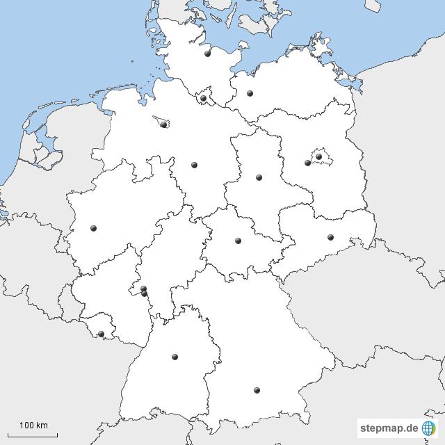 stepmap deutschland bundesl nder hauptst dte landkarte f r deutschland. Black Bedroom Furniture Sets. Home Design Ideas