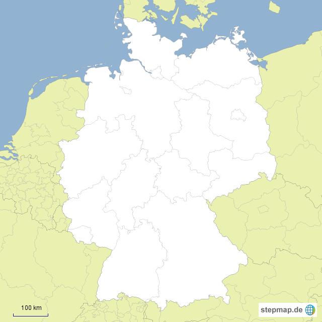 Bundesländer Karte Ohne Namen.Stepmap Deutschland Bundesländer Ohne Namen Landkarte Für