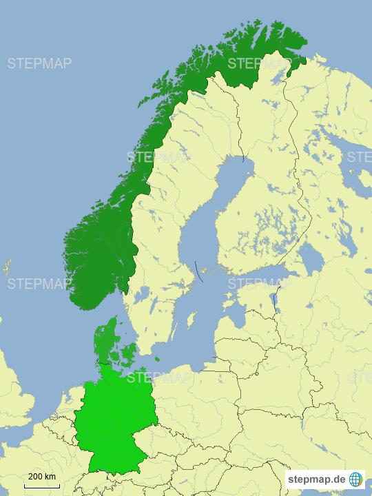 Karte Norwegen Dänemark.Stepmap Deutschland Dänemark Norwegen Landkarte Für Deutschland