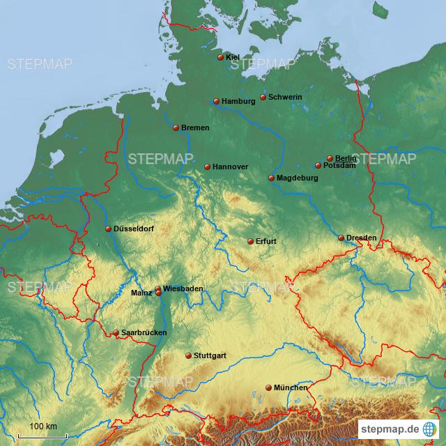 stepmap deutschland fl sse und gebirge stumm landkarte f r deutschland. Black Bedroom Furniture Sets. Home Design Ideas