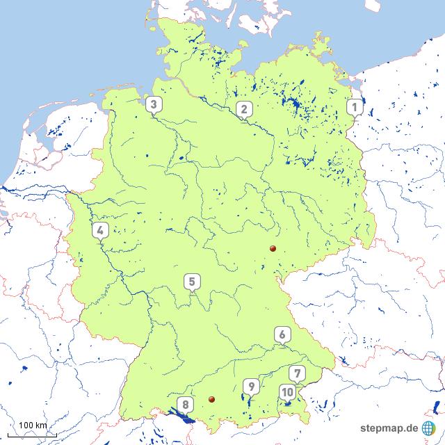 stepmap deutschland fl sse und seen landkarte f r deutschland. Black Bedroom Furniture Sets. Home Design Ideas