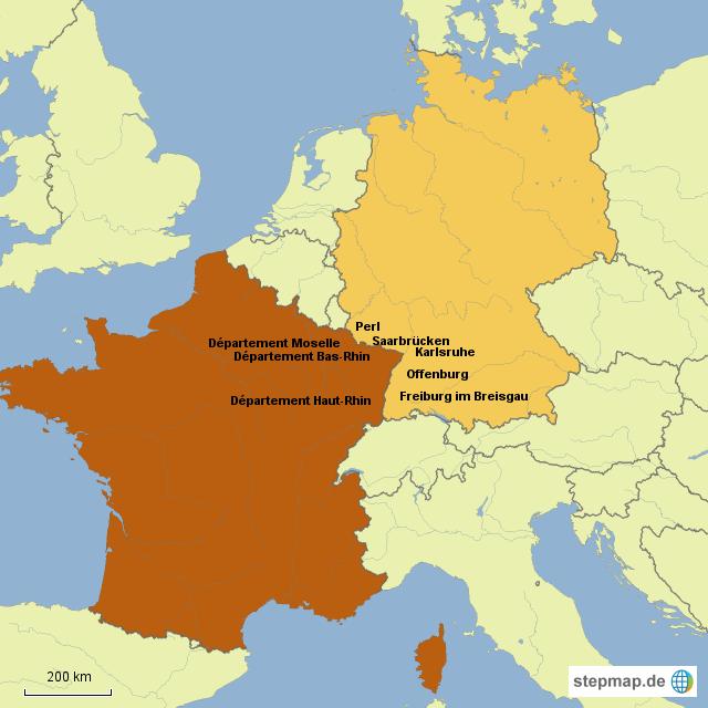 deutschland frankreich karte StepMap   Deutschland/Frankreich   Landkarte für Deutschland