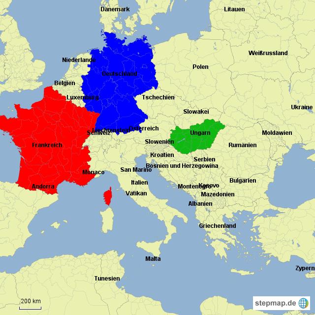 Deutschland Frankreich Karte.Stepmap Deutschland Frankreich Ungarn Landkarte Für Deutschland
