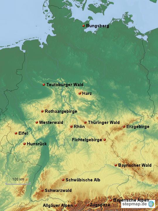 gebirge in deutschland karte StepMap   Deutschland   Gebirge   Landkarte für Deutschland gebirge in deutschland karte