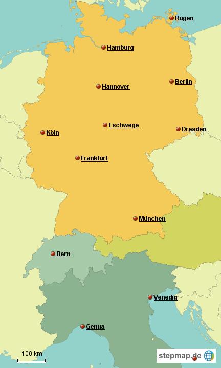 landkarte deutschland italien StepMap   Deutschland Italien   Landkarte für Europa