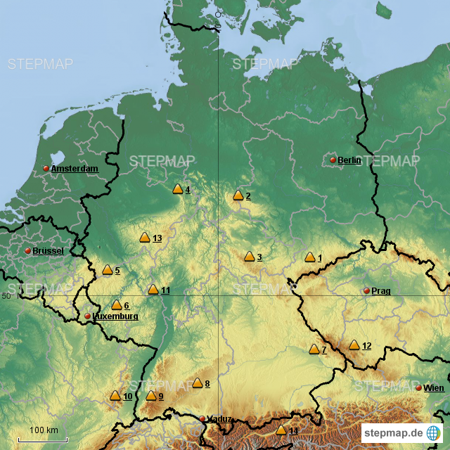 Mittelgebirge Deutschland Karte.Stepmap Deutschland Mittelgebirge Landkarte Für Deutschland