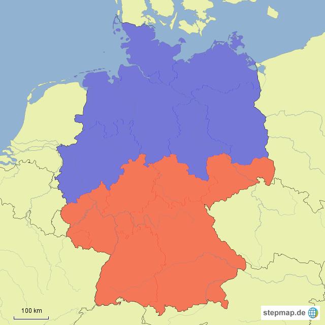 karte deutschland süd StepMap   Deutschland Nord/Süd   Landkarte für Deutschland
