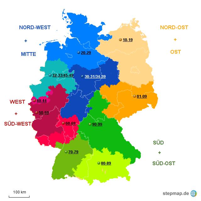 Postleitzahlen Karte Deutschland.Stepmap Deutschland Plz Landkarte Fur Deutschland