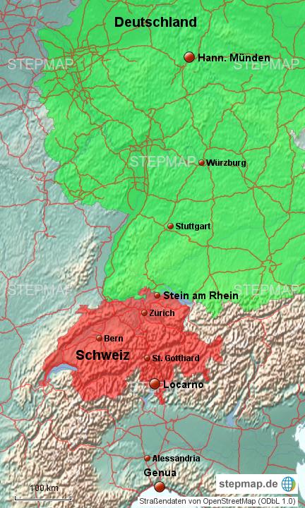 landkarte deutschland schweiz italien StepMap   Deutschland Schweiz Italien   Landkarte für Europa