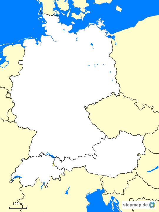 Karte Süddeutschland österreich Schweiz.Stepmap Deutschland Schweiz österreich Landkarte Für Europa