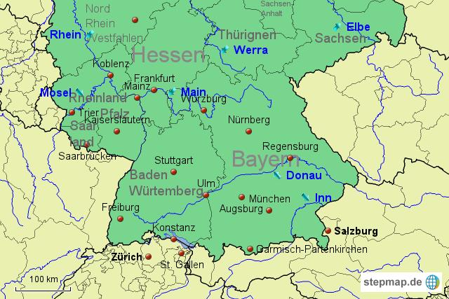 landkarte deutschland süd StepMap   Deutschland Süd   Landkarte für Deutschland