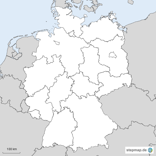 deutschland karte blanko StepMap   Deutschland blanko mit Nachbarn   Landkarte für Deutschland