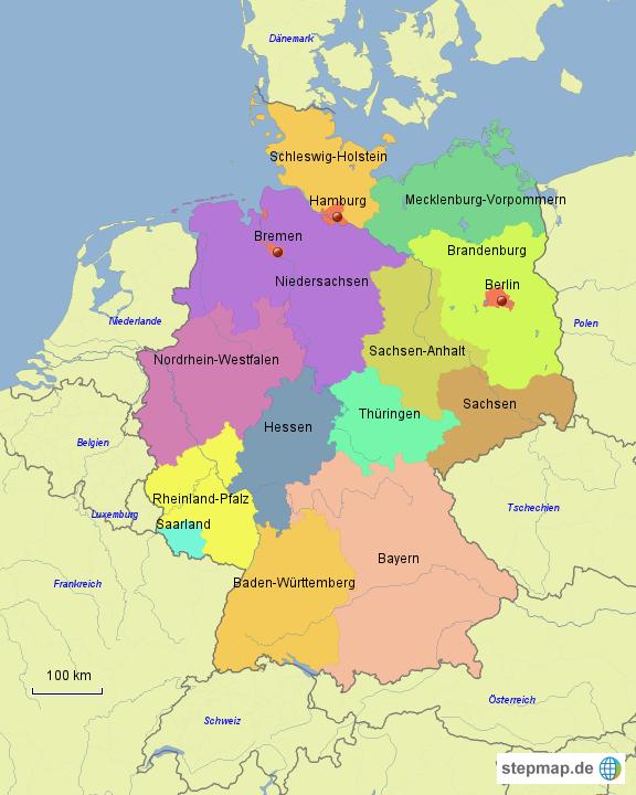 deutschland mit bundesl228ndern und nachbarstaaten von begro