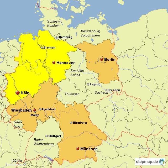 stepmap deutschland mit ausgew hlten st dten landkarte. Black Bedroom Furniture Sets. Home Design Ideas