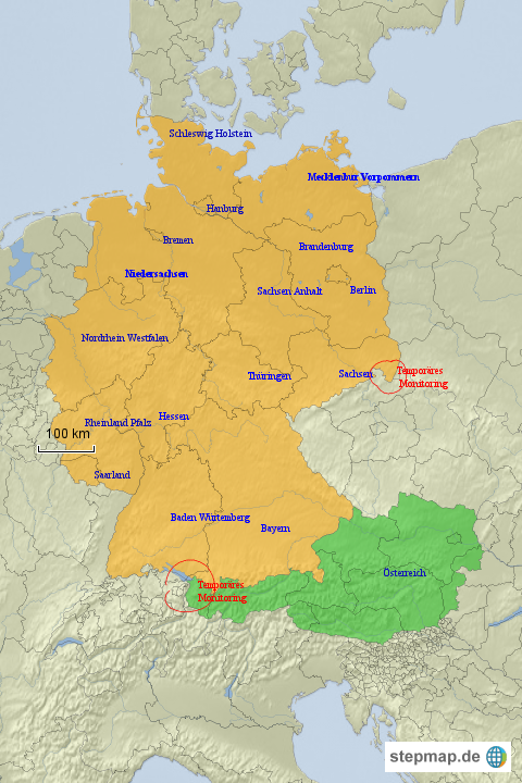 Karte Deutschland österreich.Stepmap Deutschland österreich Landkarte Für Deutschland