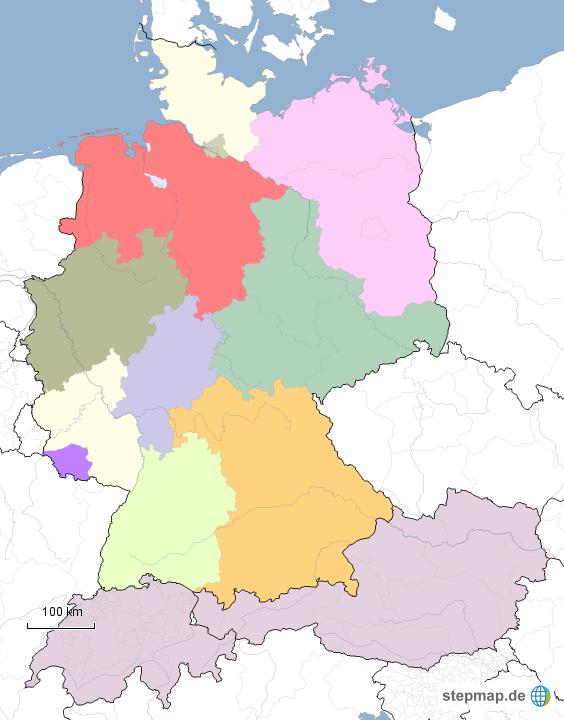 Karte Deutschland österreich.Stepmap Deutschland österreich Schweiz Landkarte Für Deutschland
