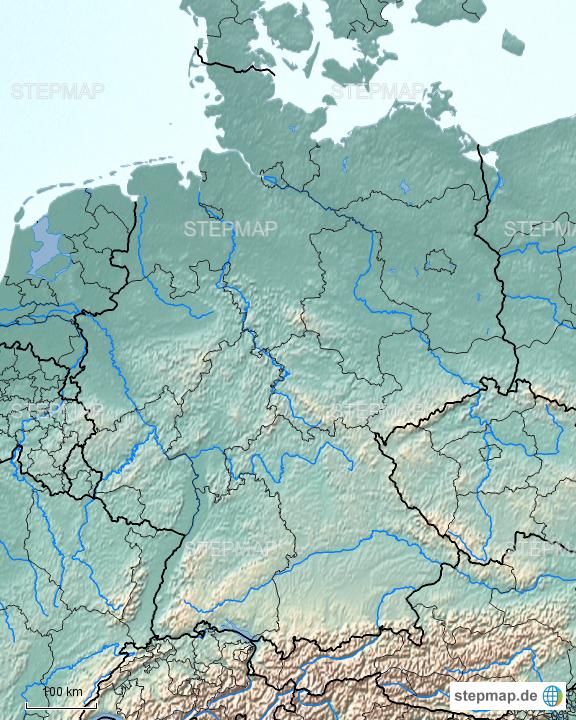 StepMap - Deutschland physisch - Landkarte für Deutschland