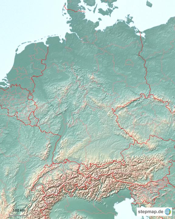 StepMap - Deutschland physisch mit Landesgrenze ...