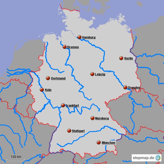 karte deutschland flüsse StepMap   Deutschland städte und flüsse 5   Landkarte für Deutschland