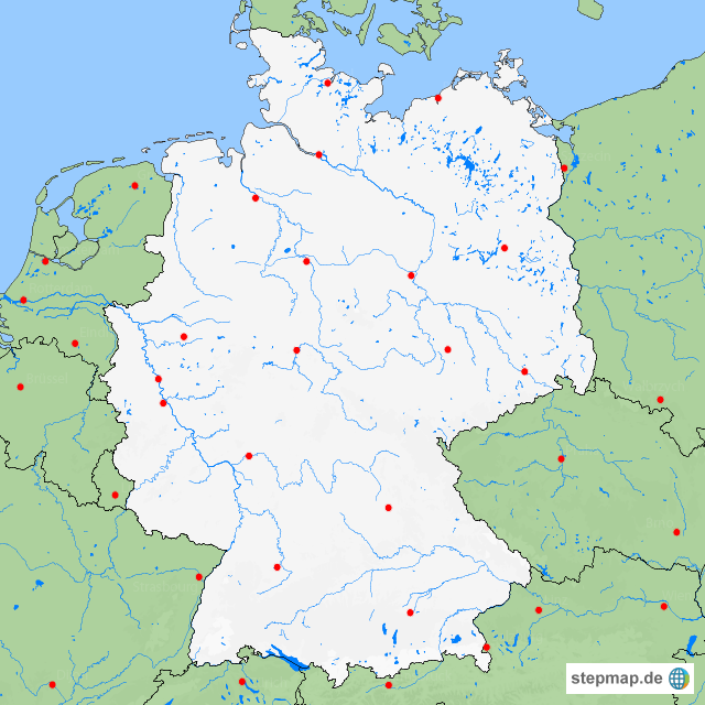 karte flüsse deutschland StepMap   Deutschland stumm Flüsse   Landkarte für Deutschland karte flüsse deutschland