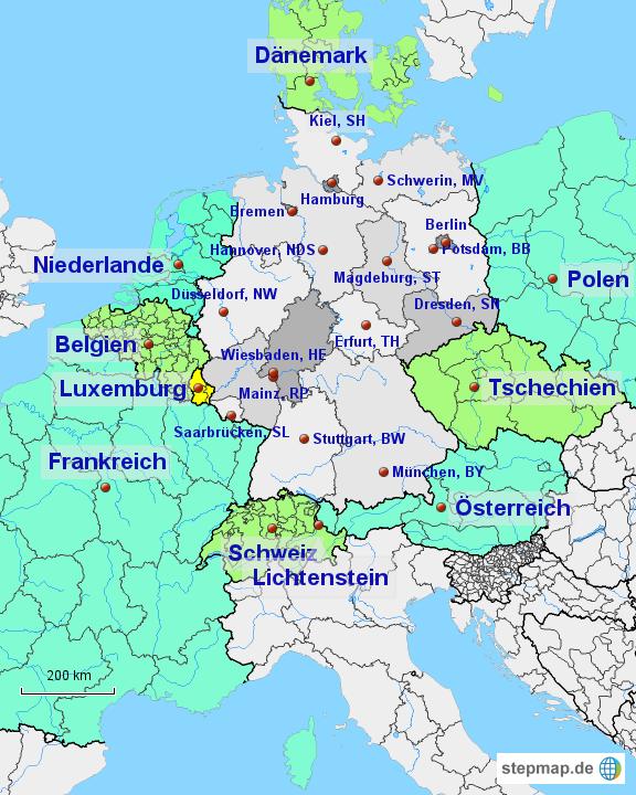 stepmap deutschland und nachbarl nder landkarte f r deutschland. Black Bedroom Furniture Sets. Home Design Ideas