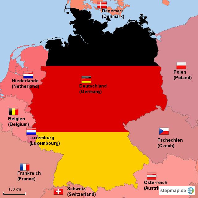 deutschland und nachbarl nder germany and direct neighbours von tap landkarte f r deutschland. Black Bedroom Furniture Sets. Home Design Ideas