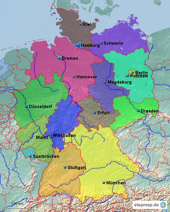 stepmap deutschland und seine bundesl nder landkarte f r deutschland. Black Bedroom Furniture Sets. Home Design Ideas