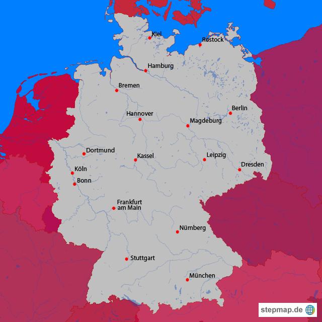 stepmap deutschlandkarte mit gro en st dten landkarte. Black Bedroom Furniture Sets. Home Design Ideas