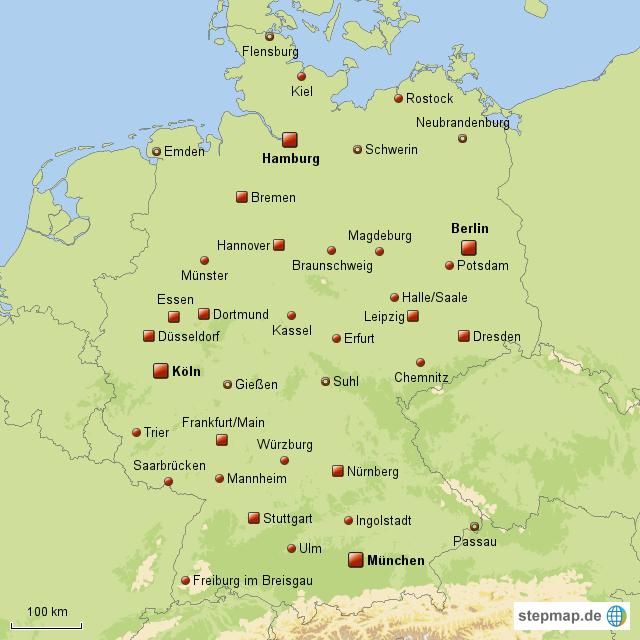 Deutschland Karte Städte.Stepmap Deutschlandkarte Mit Verschiedenen Städten Landkarte Für