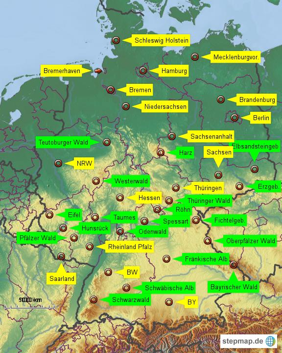 mittelgebirge karte StepMap   Deutschlands Mittelgebirge   Landkarte für Deutschland