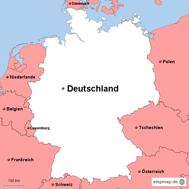 nachbarländer deutschland karte StepMap   Deutschlands Nachbarländer   Landkarte für Deutschland nachbarländer deutschland karte