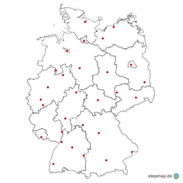 karte bundesländer ohne namen StepMap   Deutschlands Städte ohne Namen   Landkarte für Deutschland