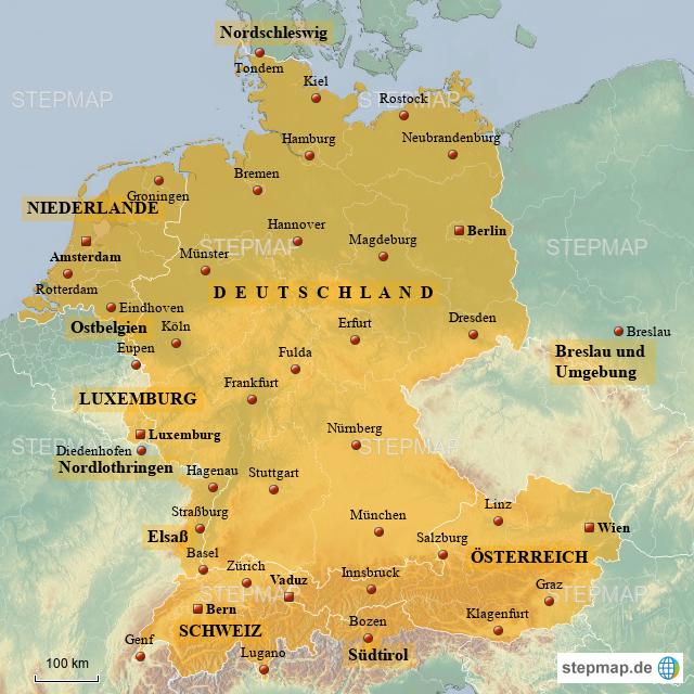 Stepmap Deutschsprachige Länder Und Nahliegende Gebiete