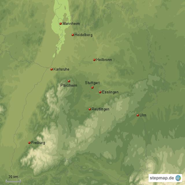 Karte baden württemberg städte in Baden Württemberg