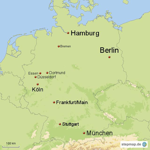 die 10 gr ten st dte deutschlands von maxi76 landkarte f r deutschland. Black Bedroom Furniture Sets. Home Design Ideas