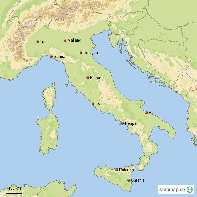stepmap die 10 gr ten st dte italiens landkarte f r. Black Bedroom Furniture Sets. Home Design Ideas
