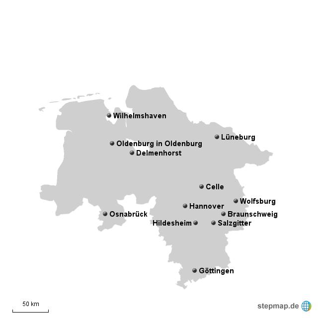 Stepmap Die 12 Grossten Stadte Niedersachsens Landkarte Fur