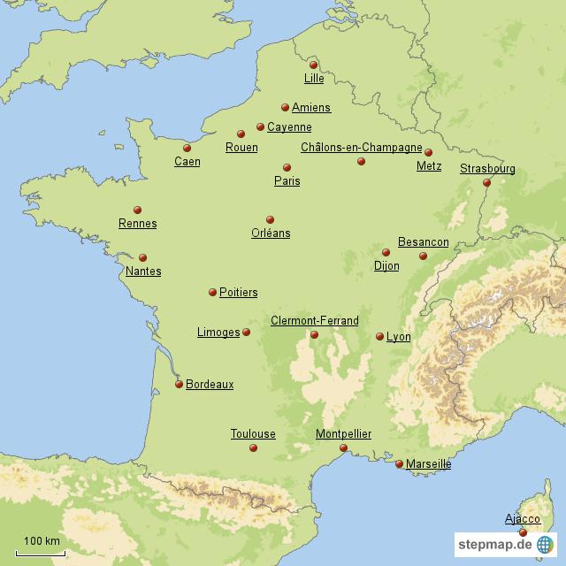 Frankreich Karte Regionen.Stepmap Die 22 Hauptstädte Der Franz Regionen Landkarte Für