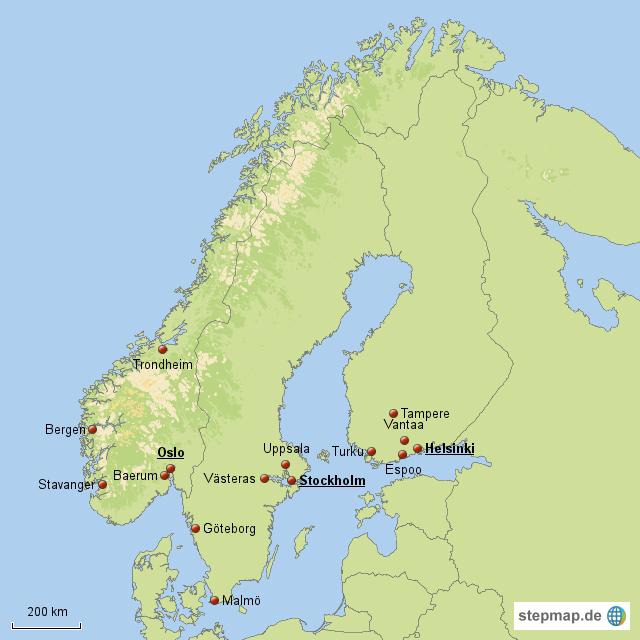 die 5 gr ten st dte schwedens finnlands und von norwegen. Black Bedroom Furniture Sets. Home Design Ideas