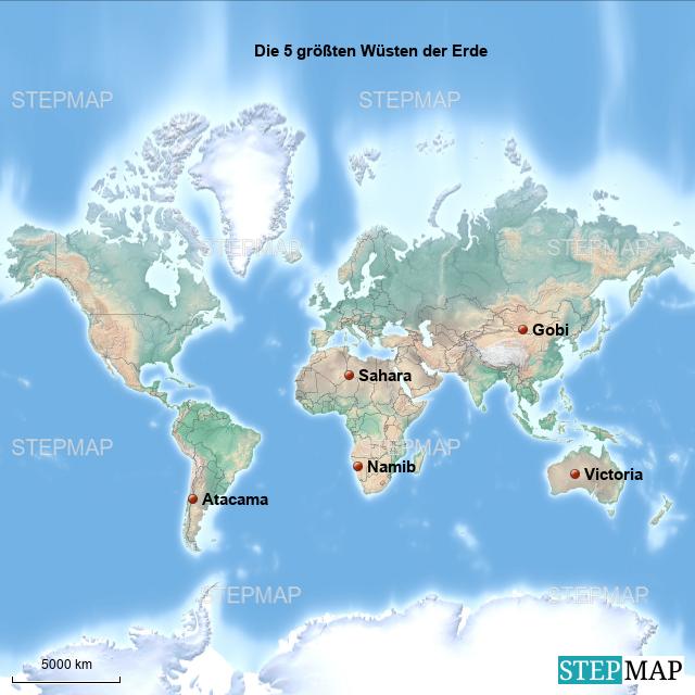 wüsten der erde karte StepMap   Die 5 größten Wüsten der Erde   Landkarte für Welt